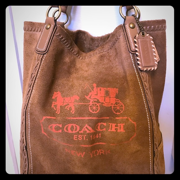 07477540ed19 Coach Handbags - COACH Poppy Horse   Carriage Large Suede Tote